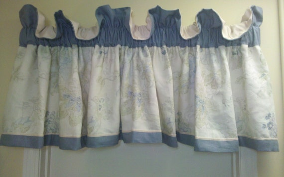 Pastel valance in tones of green, and blue