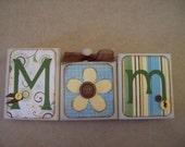 Set of 3 MOM blocks wood handmade home decor Mother's Day
