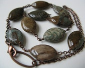Reticulated - antiqued copper curb chain and teal green & brown textured snakeskin jasper oval stone necklace