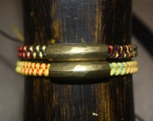Braided Multicolored Nylon Friendship Bracelet or Anklet with Vintage Brass Tube