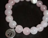 Rose Quartz Semi Precious Gemstone Beaded Bracelet with Silver Pave Rhinestones and Silver Initial Charm - Waiting On Martha ID