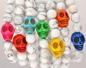 Candy Coated Skulls - White Howlite Semi Precious Gemstone Beaded Bracelets with Silver Stardust Beads and Candy Colored Gemstone Skulls