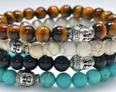 Men's Beaded Buddha Bracelet - Turquoise Howlite, Black Onyx, Caramel Magnesite, or Tiger Eye Semi Precious Gemstones & Silver Buddha Head