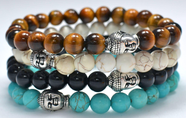 Men's Beaded Buddha Bracelet Turquoise Howlite Black