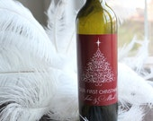 Swirl Christmas Tree - Custom Wine Bottle Labels Happy Holiday