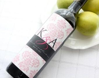 Tall Monogram on Damask Custom Wine Bottle Label