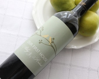 Budding Branch with Love Birds Custom Wine Bottle Labels