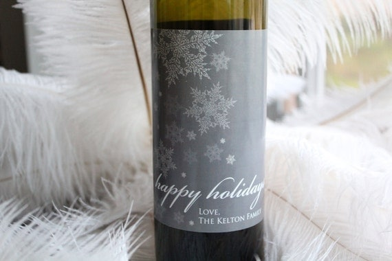 Frosty Snowflake Holiday Label - Custom Wine Bottle Labels