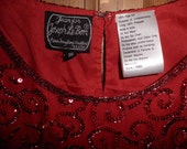 Vintage Red Sequined Blouse - Vintage Jean for Joseph Le Bon, Vintage Silk and Beaded Top, Women's Clothing, Eighties Bling