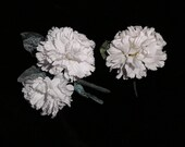 White Carnations Silk Flowers Vintage Corsage