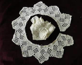 Vintage Pair Crocheted Edging Pieces Table Cloth, Vintage Pillow Trim, Vintage Crochet, Vintage Lace,  Handmade Lace, White Lace