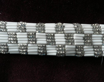 Vintage Silver and White Check Beaded Trim - Vintage Metallic Trim, Vintage Beadwork, Vintage Sewing Supplies, Vintage Craft Supplies
