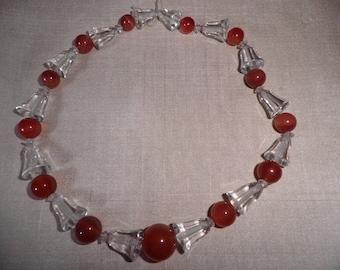 Vintage Carnelian and Crystal Necklace, Vintage Jewelry , Vintage Crystals, Antique Necklace