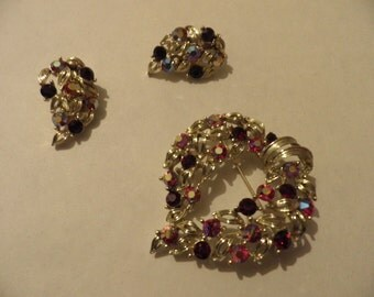 Lisner AB Rhinestone Brooch and Clip Earrings Set - Vintage, Vintage Jewelry , Vintage Rhinestones