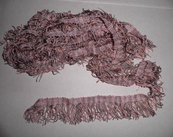 Vintage Pink and Gray Fringed Braid,  Vintage Pillow Edging, Vintage Sewing Supplies, Vintage Craft  Supplies