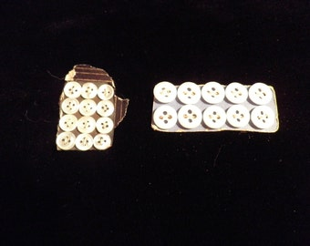 Tiny White Buttons Vintage 7mm and 10mm, Vintage Sewing Supplies, Vintage Baby Doll Clothes Buttons, Vintage NOS Buttons