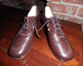 Vintage Womens Brown Leather Shoes - Vintage Oxford Shoes, Vintage Tie Shoes