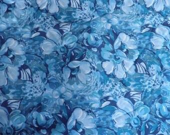 Blue Floral Vintage Polyester Fabric, Vintage Material, Vintage Textiles