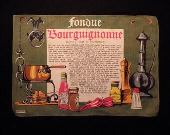 Vintage Fondue Bourguignonne Print Linen Heinz Kreier, Vintage Dish Towel, Vintage Linen Towel, Vintage Tea Towel