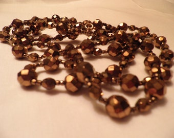 Vintage Bronze Glass Bead Necklace, Vintage Jewelry, Very Beaded Necklace