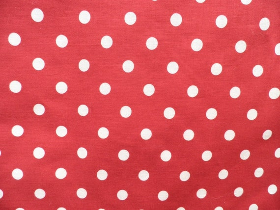 Red and White Polka Dot Cotton Fabric - Vintage