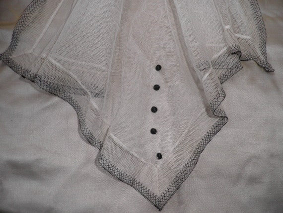 REDUCED Antique Victorian Ivory and Black Net Jabot