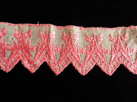 Vintage Bright Pink Embroidered Gauze Trim, Vintage Embroidered Lace, Vintage Lace Edging, Vintage Sewing Supplies, Vintage Craft Supplies