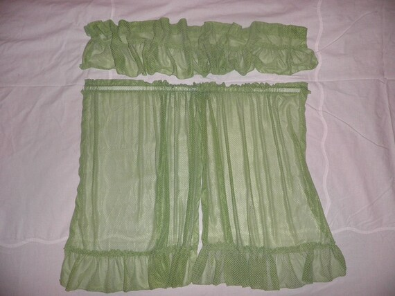 Vintage Apple Green Dotted Swiss Cafe Kitchen Curtains Two