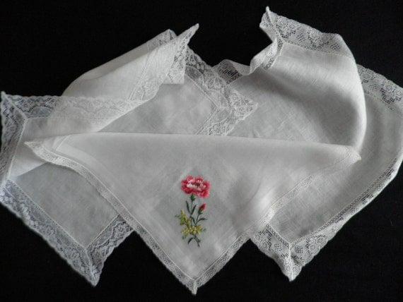 Three Lace Trimmed Ladies Hankies Handkerchiefs Vintage