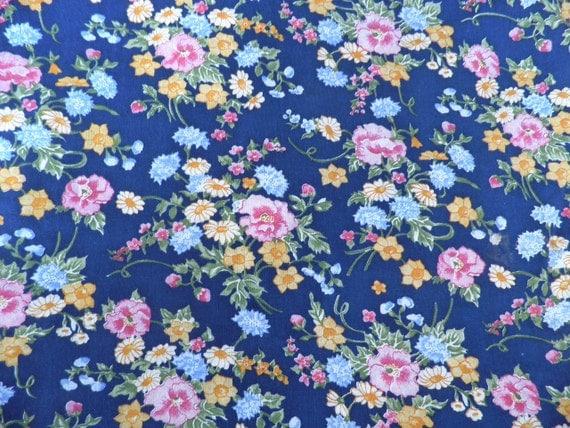 Vintage Navy Floral Print Cotton Fabric