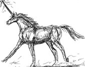 Unicorn Gallop - Pen & Ink - Ceramic Tile Art Magnet