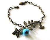 Leaf bracelet jewelry blue flower with bird charm antique brass bronze