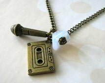 Retro style cassette tape necklace music microphone jewelry white flower vintage style antique brass bronze