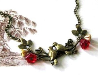 Kissing love birds necklace red and brown flowers jewelry antiqued brass bronze birds on branch necklace vintage style