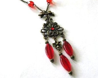 Red chandelier necklace jewelry antique brass bronze bow and flower vintage style