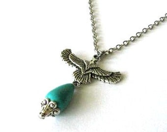 Antiqued silver bird necklace teardrop turquoise stone bead jewelry, Flying eagle necklace