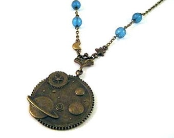 Planet necklace blue jewelry star, moon necklace milky way, galaxy, celestial, planet earth necklace antique brass bronze