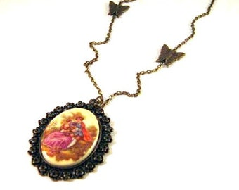 Man woman victorian style cameo necklace love couple jewelry long chain antique brass bronze butterflies vintage nostalgic look
