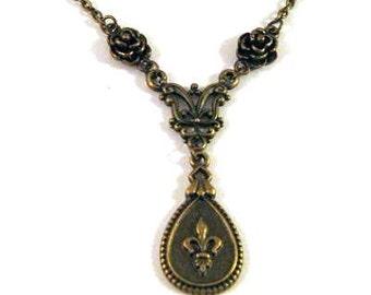 Fleur De Lis necklace flowers jewelry antique brass bronze rose vintage style simple necklace