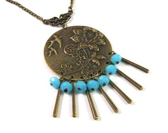 Blue necklace round pendant birds and rose flower jewelry blue crystal necklace antique brass bronze victorian vintage style