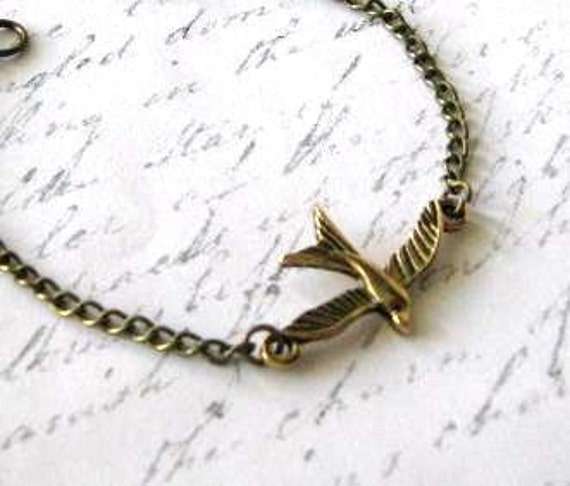 Simple antiqued gold soaring bird bracelet jewelry with antiqued bronze chain - Sparrow bracelet
