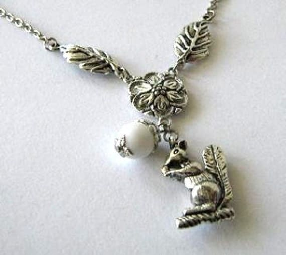 Silver squirrel necklace jewelry with white glass bead, Flower and leaves necklace