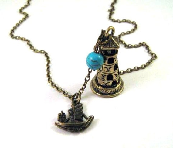 lighthouse necklace ship with turquoise jewelry antique brass