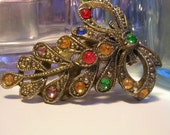 Vintage: Art Deco Dress Clip Multi Colored Rhinestone