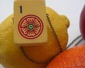 Vintage and Handmade Bakelite Mahjong Tile Necklace
