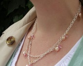 Handmade Silver and Pearl and Crystal Necklace