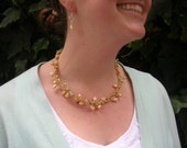 Handmade Pearl and Crystal Necklace and Earrings