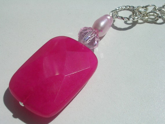 Handmade Pink Jade Sterling Silver Necklace
