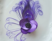 Purple Peacock Hair Clip. Petals flower Peacock feather Fascinator with Black button center & Swarovski Crystal. -ROYAL PURPLE  FASCINATOR-
