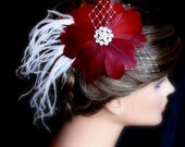 Burgundy Hair Flowers. Burgudy Red fascinator flower feather-. Embellished with Exquisite AB Crystal--Wedding- Feathers Flowers  Collection